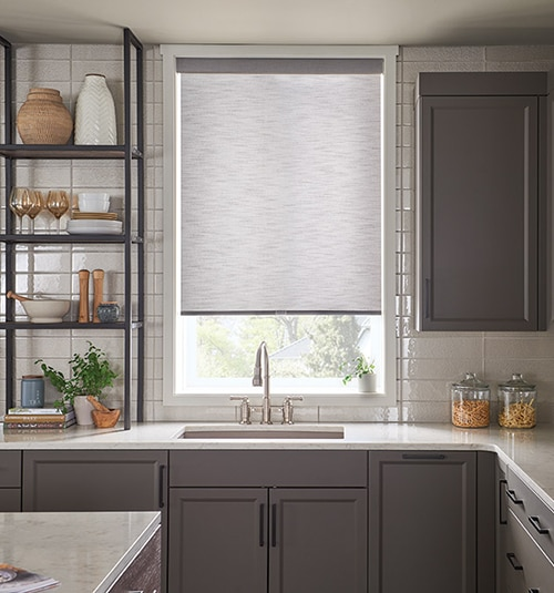 Star Blinds Motorized Roller Shades: Shown in Damascus White