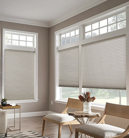 Cordless Cellular Shades shown in Silver
