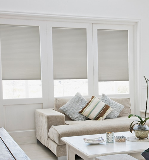 Cordless Double Cellular Shades shown in White