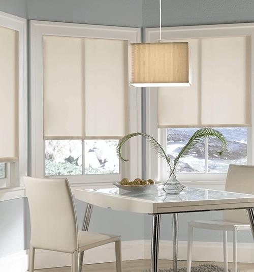 Paradise Solar Shades shown in Ivory with 3% openness