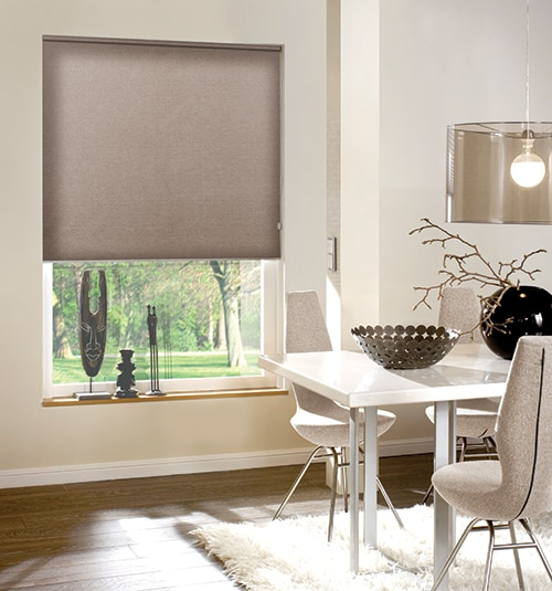 Newport Light Filtering Roller Shades shown in color Snow