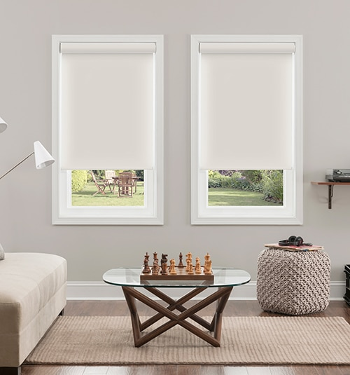 Newport Blackout Roller Shades shown in Coffee
