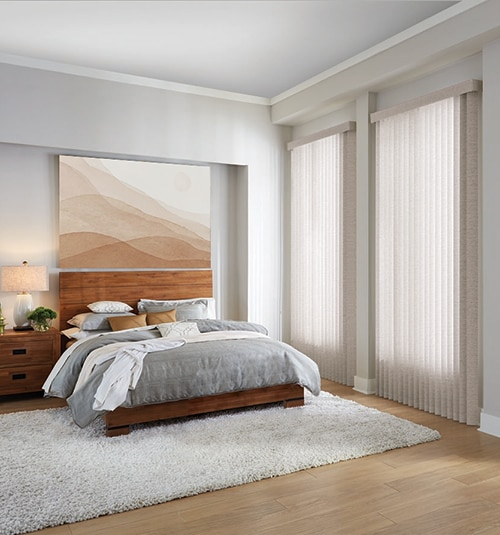 Fabric Vertical Blinds shown in Homespun Linen